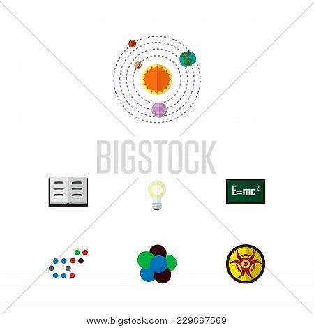 Icon Flat Study Set Of Solar System, Nuclear, Chemical And Other Vector Objects. Also Includes Molec