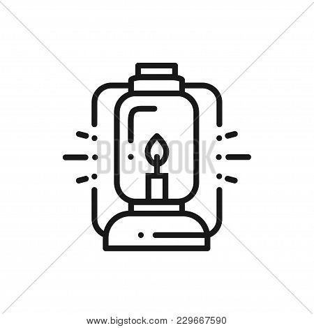 Camping Lantern Line Icon. Oil Lamp With Glowing Fire Wick. Handle Gas Lamp For Tourist Hiking