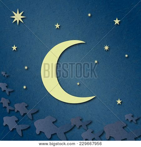 Blue Sky With Stars, Big Bright Moon. Fantasy Clouds In Form Of Fabulous Fish. Illustration Suitable
