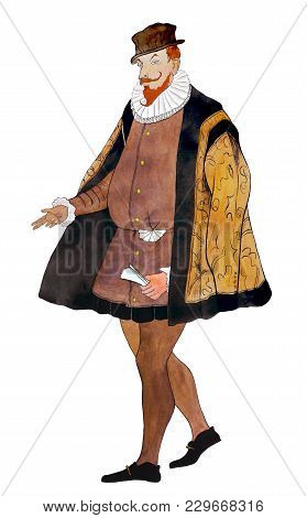 Watercolor Portrait Of An Aristocrat In A Brown Historical Costume On A White Background.