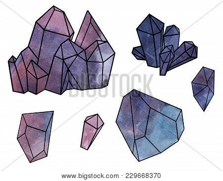 Amethyst Crystals, Purple Stone, Mineral - Watercolor Illustration Isolated On White Background