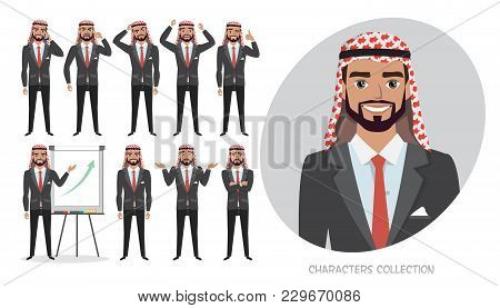 Set Of Emotions And Poses For Arab Business Man. Male In Suit Experiences Different Emotions.