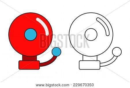 Red Ringing Alarm Bell Isolated On White Background. Outlined. Vector Stock.
