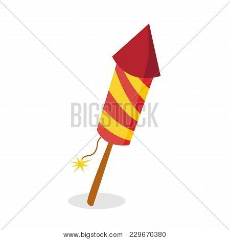 Firework Rocket Isolated On White Background.vector Stock.