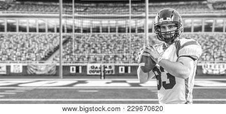 one quarterback american football player throwing ball isolated on big modern stadium field with lights and flares