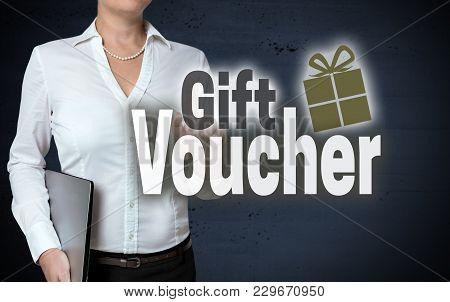 Gift Voucher Touchscreen Is Shown By Businesswoman.