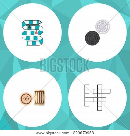 Icon Flat Play Set Of Crossword, Table Game, Lotto And Other  Objects. Also Includes Play, Checkers,