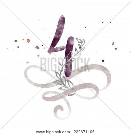 Calligraphic Number Four 4 Vintage Isolated On White Background. Watercolor Decor Flourish For Decor