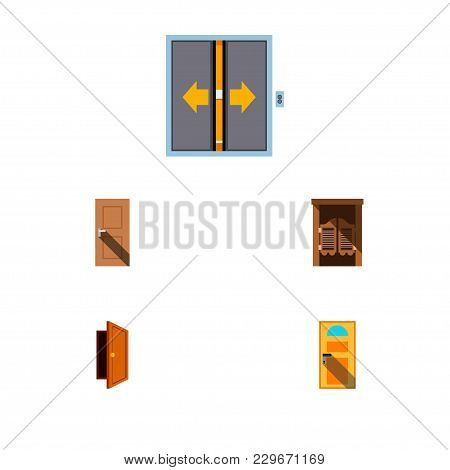Icon Flat Approach Set Of Entry, Door, Elevator And Other  Objects. Also Includes Door, Exit, Entry