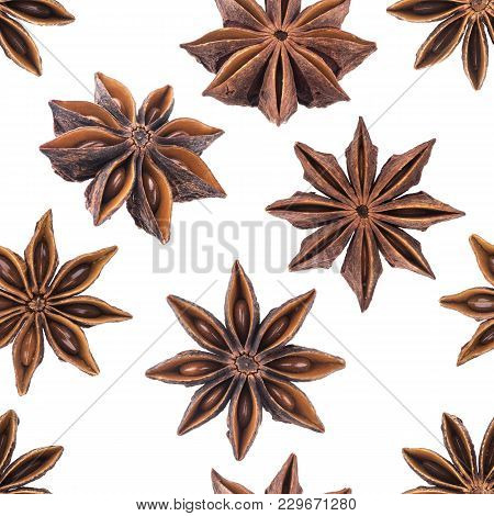 Star Anise Spice Fruit Isolated On White Background Closeup Collection