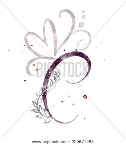 Hand Drawn Calligraphy Letter C. Watercolor Script Font. Isolated Letters Written With Ink. Handwrit