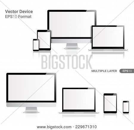 Realistic Computer, Laptop, Tablet and Smartphone with transparent Wallpaper Screen Isolated on white. Set of Device Mockup Separate Groups and Layers. New Easily Editable Vector.