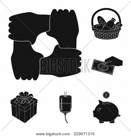 Charity And Donation Black Icons In Set Collection For Design. Material Aid Vector Symbol Stock  Ill