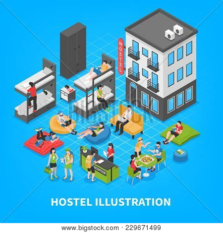 Hostel Isometric Composition With Building Outside, Bunk Beds, Reception Desk, Rest Zone On Blue Bac