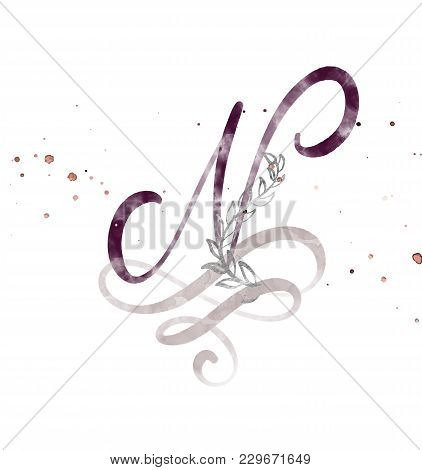 Hand Drawn Calligraphy Letter N. Watercolor Script Font. Isolated Letters Written With Ink. Handwrit