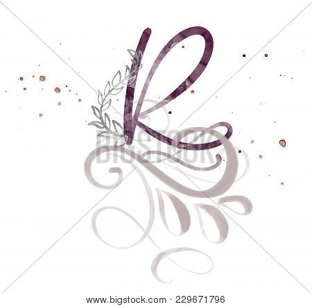 Hand Drawn Calligraphy Letter R. Watercolor Script Font. Isolated Letters Written With Ink. Handwrit