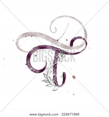 Hand Drawn Calligraphy Letter T. Watercolor Script Font. Isolated Letters Written With Ink. Handwrit