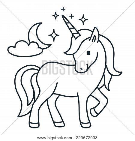 Cute Unicorn Simple Cartoon Vector Coloring Book Illustration. Simple Flat Line Doodle Icon Contempo