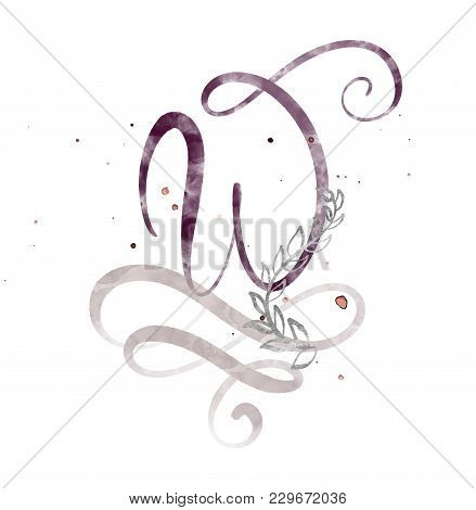 Hand Drawn Calligraphy Letter W. Watercolor Script Font. Isolated Letters Written With Ink. Handwrit