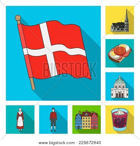 Traveling In Denmark Flat Icons In Set Collection For Design. Denmark And Attractions Vector Symbol