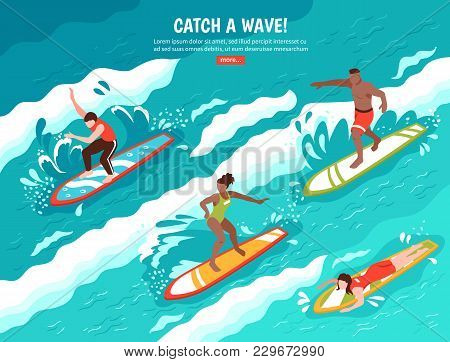 Surf Flat Composition With Group Of Human Characters Surfing Water Wave On Surfboards With Read More