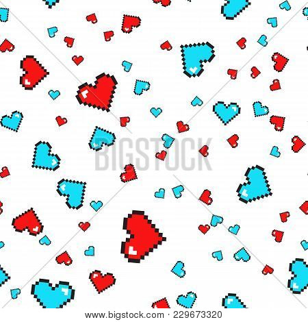 Seamless Pattern With Pixel Hearts. Valentines Day. Vector Background Isolated On White Background