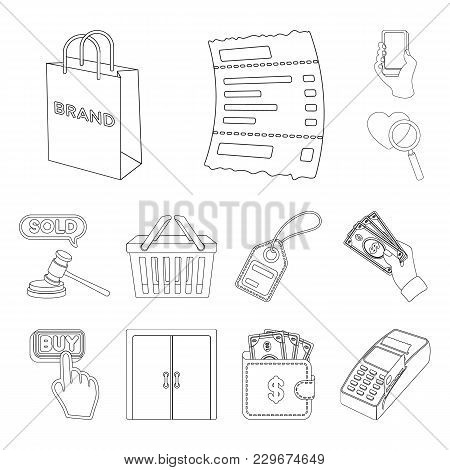 E-commerce, Purchase And Sale Outline Icons In Set Collection For Design. Trade And Finance Vector S
