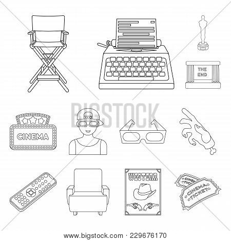Films And Cinema Outline Icons In Set Collection For Design.movies And Attributes Vector Symbol Stoc