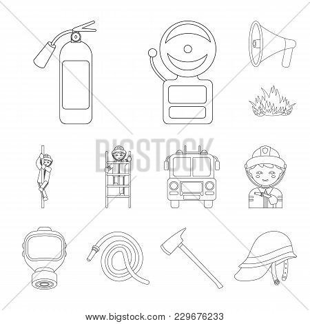 Fire Department Outline Icons In Set Collection For Design. Firefighters And Equipment Vector Symbol