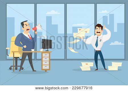 Angry Boss Shouting At Employee With Documents At Office.
