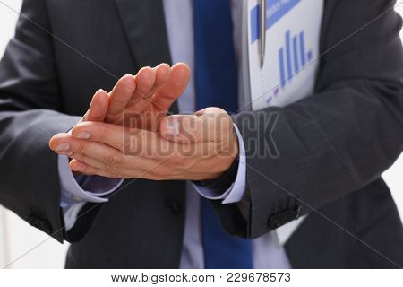 The Businessman Applauds At A Seminar To The Lecturer Who Has Perfectly Acted And Has Presented Corr