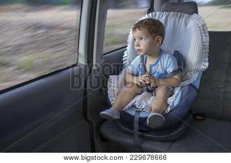 Cute Little Boy Observing The Countryside From His Car Safety Seat. He Is Distracted By The Landscap