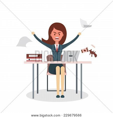Isolated Angry Boss Or Businesswoman On White.