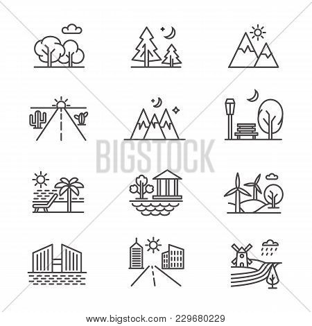 Nature Line Art Landscapes With Tree Forest, Desert, Valley, Mountains And Seashore. Vector Nature F