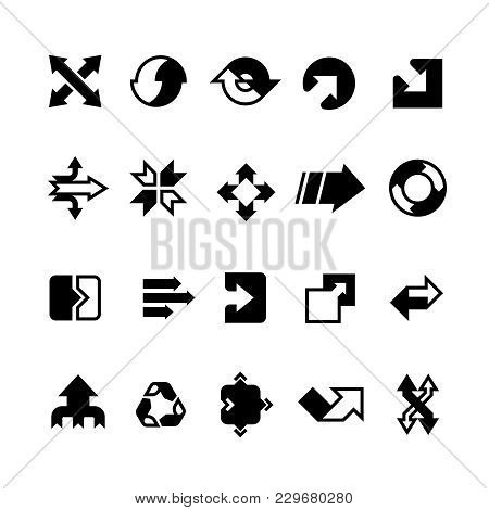 Complex Business Transition, Transform Arrows And Paths Vector Icons. Business Arrow Transition Inte