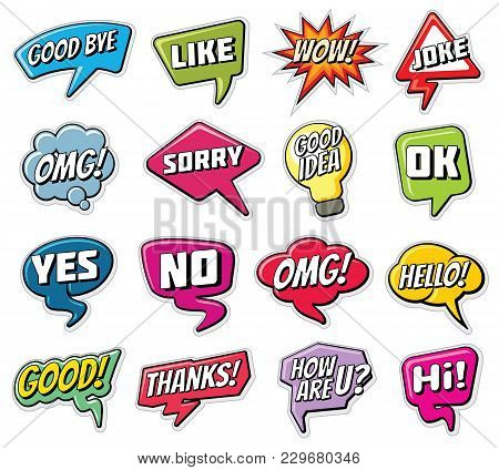 Chatting Phrases. Funny Comic Words In Speech Clouds Vector Set. Illustration Speech Cloud Expressio