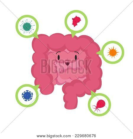 Cartoon Happy Human Intestine With Good Microscopic Bacterias Medical Probiotics Vector Concept. Ill