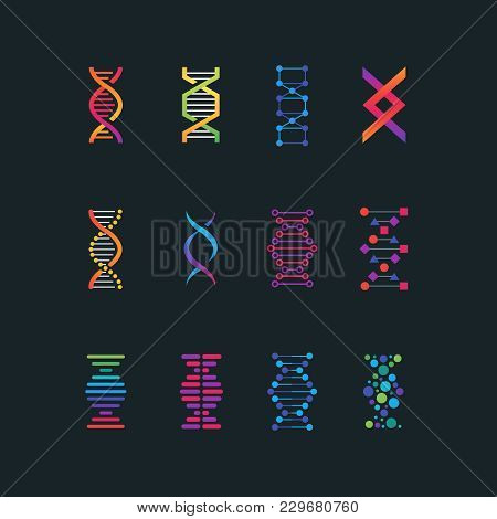Human Dna Research Technology Symbols. Spiral Molecule Medical Bio Tech Vector Icons. Research Chemi