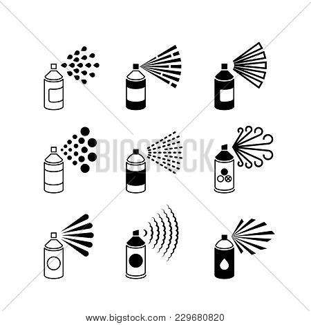 Spray Aerosol Bottle, Graffiti Can Vector Icons. Spray Aerosol In Bottle, Hairspray Compressed Illus