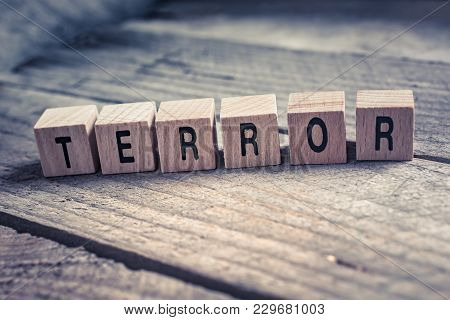 Macro Of The Word Terror Formed By Wooden Blocks On A Wooden Floor