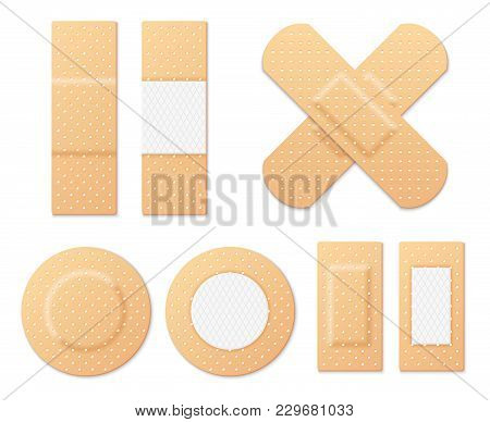 Medical Adhesive Tape Plasters Vector Set. Illustration Of Medical Tape, Plaster, Protection And Car