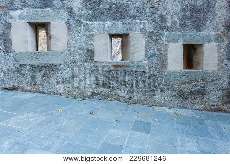 Series Of Slits Of An Ancient Castle / The Slits Were Openings In The Wall Of The Fortress To Spy On