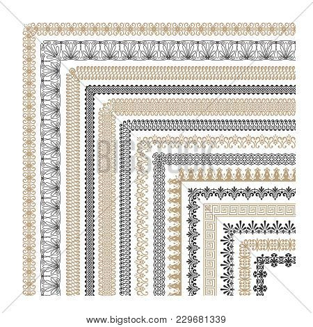 Seamless Vintage Decorative Frame Borders With Corners Vector Collection. Illustration Of Pattern Bo