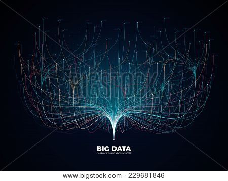 Big Data Network Visualization Concept. Digital Music Industry, Abstract Science Vector Background.