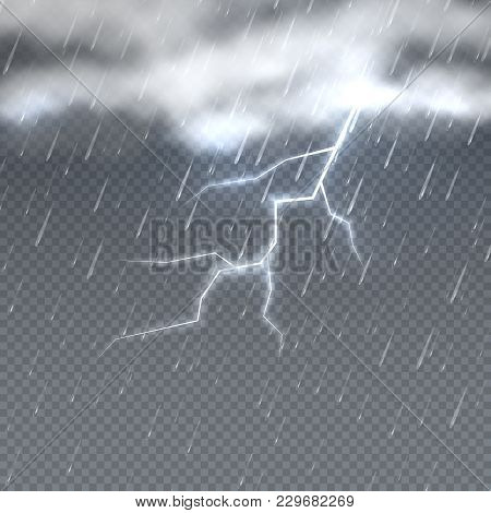 Storm And Lightning With Rain And Clouds In Sky Isolated. Climate Vector Background. Storm Weather R