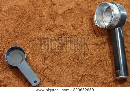 Ingredient And Tools For Making Coffee Horn With A Filter And A Spoon