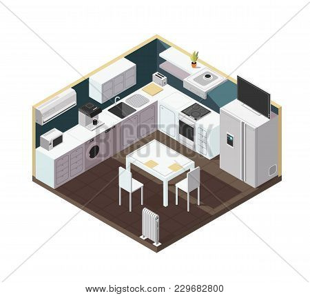 Isometric 3d Kitchen Interior With Household Appliance, Equipment And Furniture Vector Illustration.
