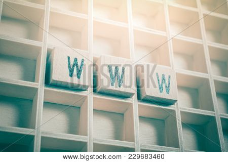 Macro Of The Word Www Formed By Wooden Blocks In A Typecase