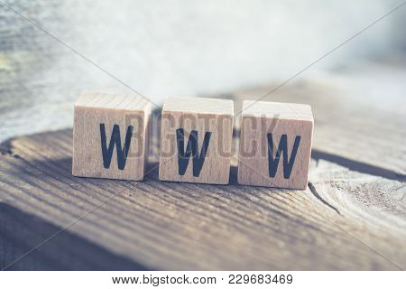 Closeup Of The Word Www Formed By Wooden Blocks On A Wooden Floor
