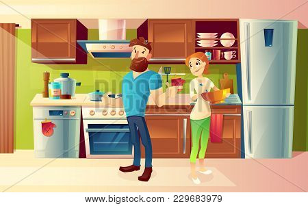 Vector Cartoon Background With Young Happy Married Couple, Smiling Man And Woman Cooking Food Togeth